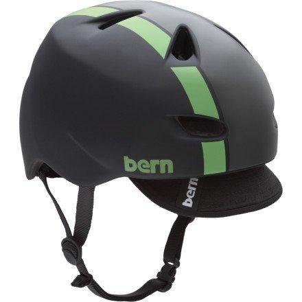 Buy Low Price Bern Brentwood Helmet w/Graphic and Visor Matte Black/Green Bomber, M (VM3MBKGV-M)