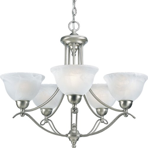 B0007MANBW Progress Lighting P4068-09 5-Light Avalon Chandelier, Brushed Nickel