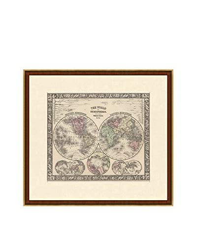 Antique Map of World in Hemispheres, 1860