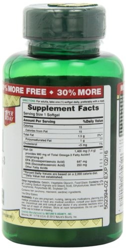 Nature s bounty triple strength one per day fish oil 1400 for Fish oil 1400 mg