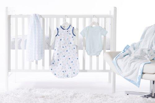 SwaddleDesigns 6 Piece Lightweight Crib Bedding Set with Luxury Adult Blanket, Pastel Blue, 0-6months