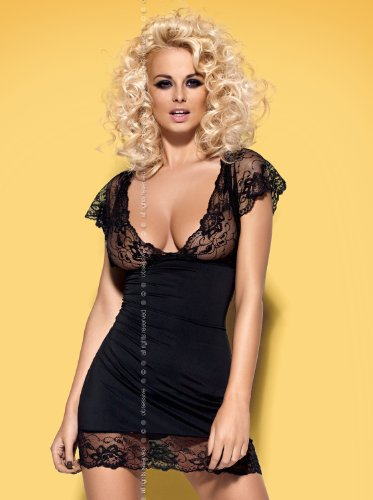 Obsessive Sexy Mesh Slip Nightie Chemise Babydoll with Thong Lingerie Set - Various Colours (S/M (6-10 UK), Black)