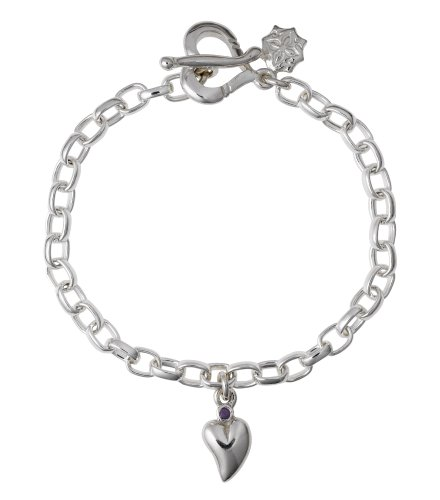 Dower & Hall, Charm Collection - Solid Sterling Silver Amethyst Set Heart on Oval Belcher Charm Bracelet