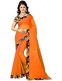 RADADIYA TRD Designer Women's Georgette Saree Orange Colored With Printed Blouse