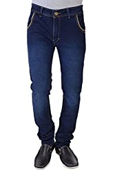 Threads Men's Regular Fit Jeans (ISH020_Dark Blue_28)