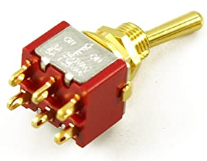 MINI SWITCH ON/OFF/ON GOLD