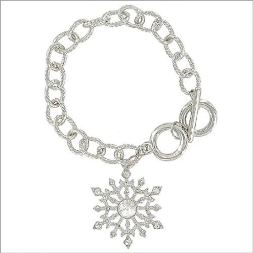 Stone Snowflake Charm Toggle Bracelet #041621
