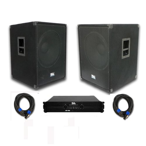 "Seismic Audio - Sap-18Sffpkg3 - Pair Of Pa/Dj 18"" Subwoofer Speaker Cabinets, Power Amplifier, And A Pair Of 35 Foot Speaker Cables - Pa/Dj Package"