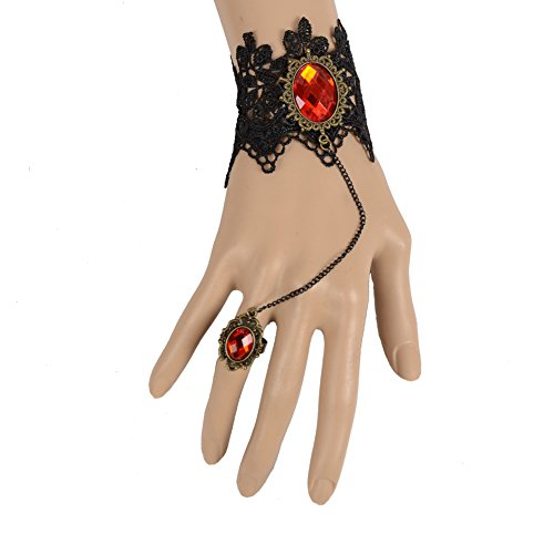 IPINK Black Lace Slave Bracelets with Ring Lolita Acrylic Beads Metal for Women