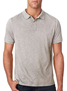 Next Level Men's Unique Fashion Slub Polo Shirt, Light Grey, Large