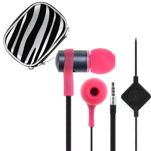 Ikross Pink / Black In-Ear 3.5Mm Noise-Isolation Stereo Flat Cable Tangle Free Earbuds With Microphone + Zebra Headset Eva Case For Apple Ipad Air, Mini, 4, 3, 2, 1 Cellphone Tablet And Other 3.5Mm Audio Jack Device