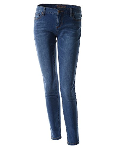 (TWJ301) Womens Ultimate Skinny Perfectly Slimming Denim Washing Stretchy Jeans MEDIUMBLUE 10(Tag size 30)