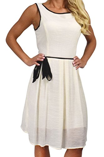 Peach Couture Beautiful Holiday Fabric Skater Dress Criss Cross Back & Tie Belt (Large, Cream)
