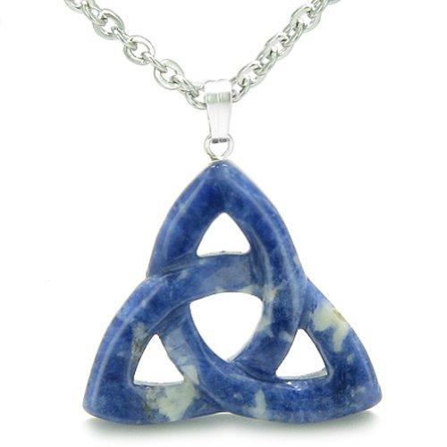 Celtic Triquetra Knot Magic Amulet Sodalite Good Luck Powers Pendant 22 Inch Necklace