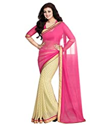 Riti Riwaz Pink&Yellow Georgette Saree With Unstitched Blouse STW15909