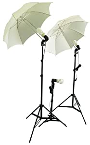 Cowboystudio Photography/Video Studio Umbrella Continuous Lighting Kit With Three Day Light CFL Bulbs & Two Diffuser Umbrellas For Product, Portrait, and Video Shooting
