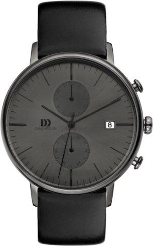 Danish Design IQ16Q975 Stainless Steel Case Black Leather Band Dark Gray Dial Chronograph Men