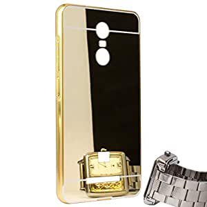Droit Luxury Metal Bumper + Acrylic Mirror Back Cover Case For Redmi Note 3 Gold + Flexible Portable Thumb OK Stand by Droit Store.