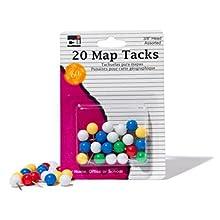 """Charles Leonard Map Tacks  - Tacks 3/8"""" Head - 20/Card, 21238"""