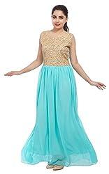 Carrel Imported Georgette Fabric Light Blue Colour Free Size Women Golden Zari Maxi Dress
