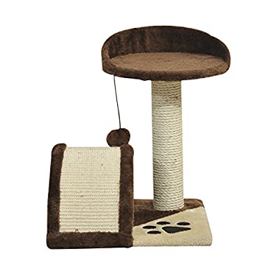 PawHut Cat Tree Sisal Kitten Activity Centre Scratching Scratcher Post Rest Bed Brown