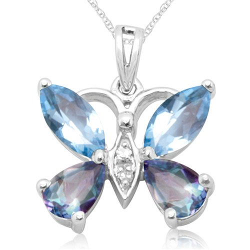 10k White Gold Blue Topaz and Neptune Garden Topaz Butterfly Pendant