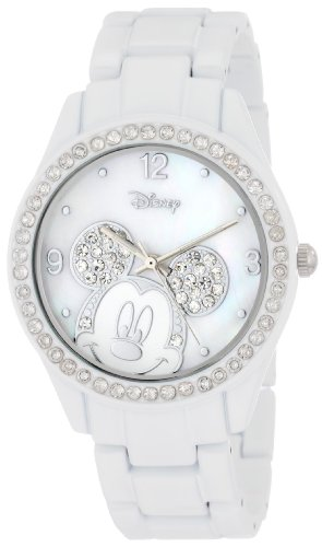 Disney Women's MK2106 Mickey Mouse Rhinestone Accent Spray White Bracelet Watch