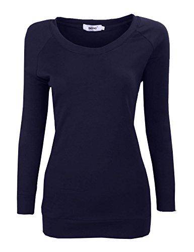 Bepei Women's Long Sleeve Raglan Crewneck Tunic Sweatshirt Top Navy 3XL