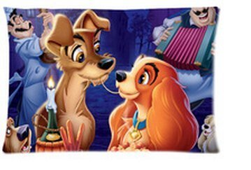 Lady and the Tramp Pillowcase Rectangle Zippered Two Sides Design Printed 20x30 pillows Throw Pillow Cover Cushion Case Covers