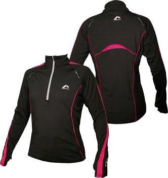WOMENS Black with pink trim More Mile Long Sleeved Hi-Viz running top