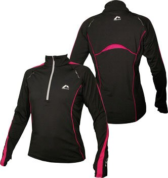 WOMENS Black with pink trim More Mile Long Sleeved Hi-Viz running top