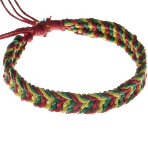 yellow red green handmade cotton hemp bracelet adjustable in all sizes B2 anklet