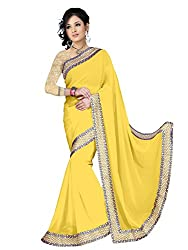 Sonani Women's Georgette Disigner Paety Wear Sarees with Blouse Piece (Yellow5656)