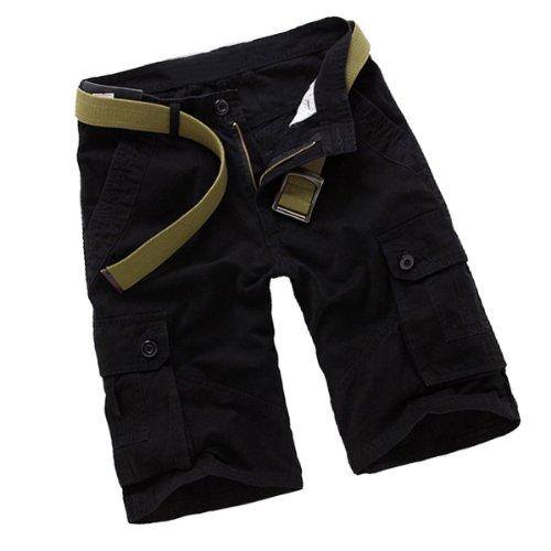Aubig Herren Baumwolle Casual Relaxed Cargo Shorts knielange kurze Hose Cargohose mit Gürtel - Schwarz Größe XS (Asiatische Größe 29)