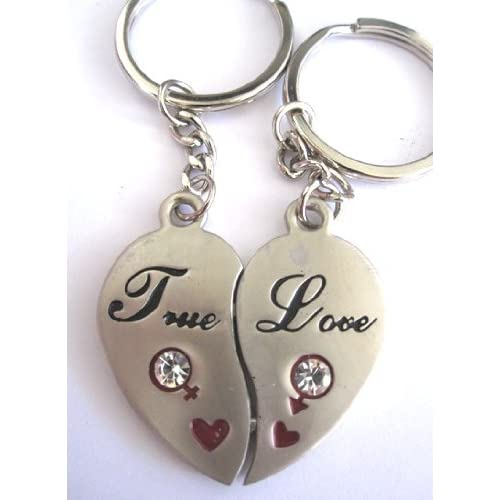 """.com: Couple Love Keychain Key Ring Two Pieces of Heart """" True Love ..."""