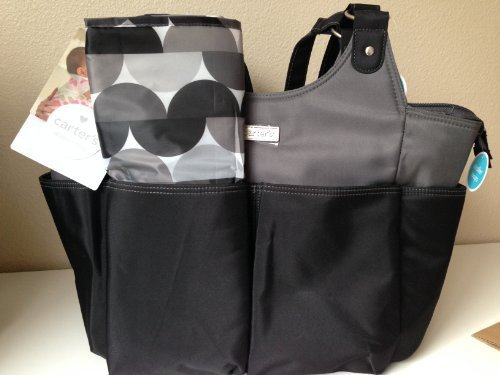 Carter's Stylish Tote Diaper Bag Black & Gray with Pad by Carter's, Inc. (English Manual)