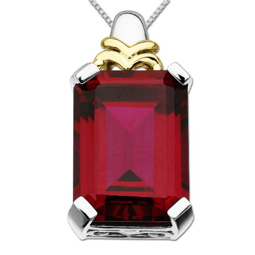 S&G Sterling Silver and 14k Yellow Gold Emerald Cut Created Ruby Pendant Necklace, 18