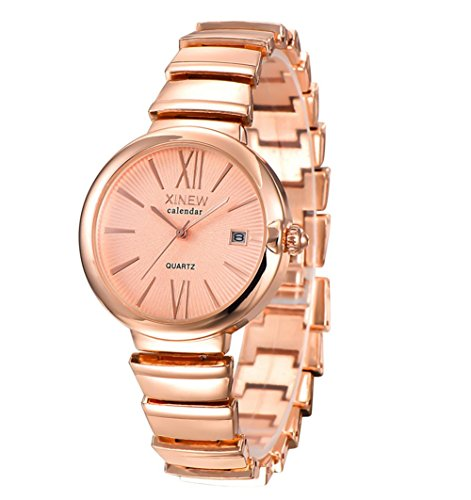 regarder-xinew-all-steel-date-montre-quartz-lady-gold-rose