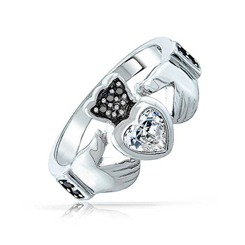 Bling Jewelry Bague Claddagh en Argent Massif .925 Sertie de Zircones CZs