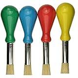 Pinceau enfants - Pinceau maternelle avec manche boule (ergonomique) - lot de 4