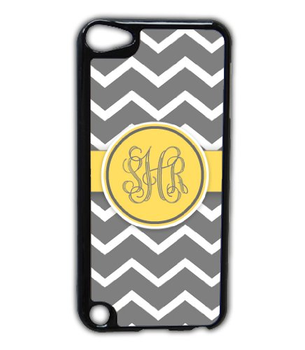 Monogrammed Chevron Ipod 5 Case - Gray Chevron With Yellow Monogram - Ipod Touch 5G Cover, Itouch Case (9900) front-188111