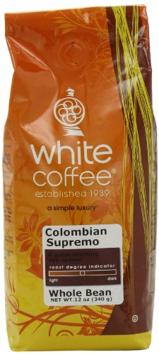 White Roasted Coffee Colombian Supremo Whole Bean 12-Ounce Bags Pack of 3B001D1YLCI : image