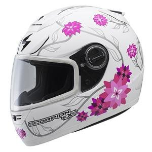 Scorpion EXO-700 Black Dahlia Helmet - 2X-Large/White