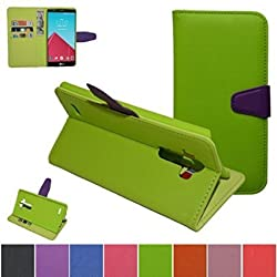 LG G4 Case,Mama Mouth [Stand View] Folio Flip Premium PU Leather [Wallet Case] With Built-in Media Stand ID Credit Card / Cash Slots and Inner Pocket Cover For LG G4 V999 H810 VS999 F500, Green
