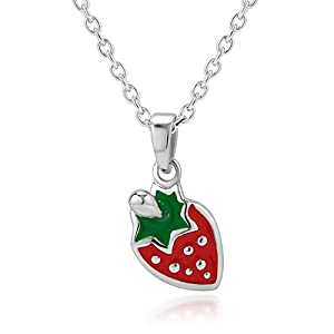 925 Sterling Silver Rhodium Plated Little Red Strawberry Enamel Charm Pendant Necklace 13''-15'' (with 2'' extension chain) Fashion Jewelry for Girls, Teen Girls- Nickel Free
