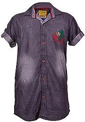 Kidzee100% Cotton Full Sleeve Black Plain Shirt With White Shading