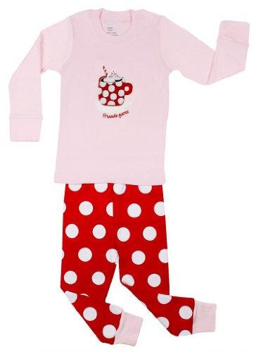"""Elowel Girls """"Coffee Mug"""" 2 Piece Pajama Set 100% Cotton - 2 Toddler front-837800"""