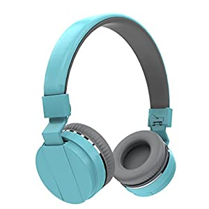 Vomach Adjustable Blue Earphones Portable Headphones Wired Controlling Headset Lightweight Soft Headphones