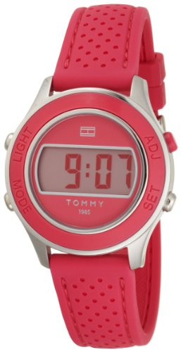 Tommy Hilfiger Women's 1781025 Digital Stainless Steel and Pink Silicon Bezel Strap Watch