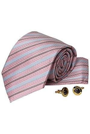 Dymastyle - Coffret Cravate rose rayé bleu- Boutons Manchettes - Rose Rayé - Unique